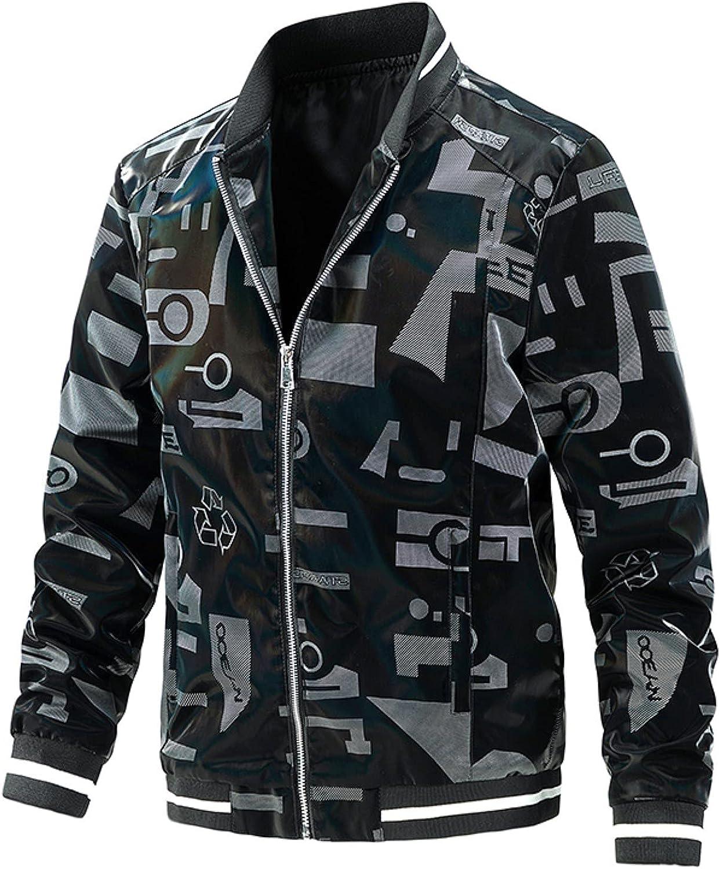 FORUU Mens Leather Bomber Jacket Fall Winter Letters Print Casual Baseball Coat Uniform Handsome Motorcycle Jackets