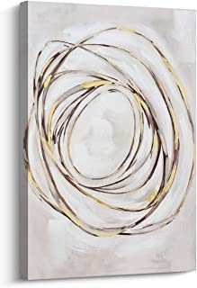 Pi Art Abstract Wall Art Gold Lines Hand Painted on Canvas Print Wall Painting Picture for Living Room and Bedroom Wall Decor (24x36 inch, B)