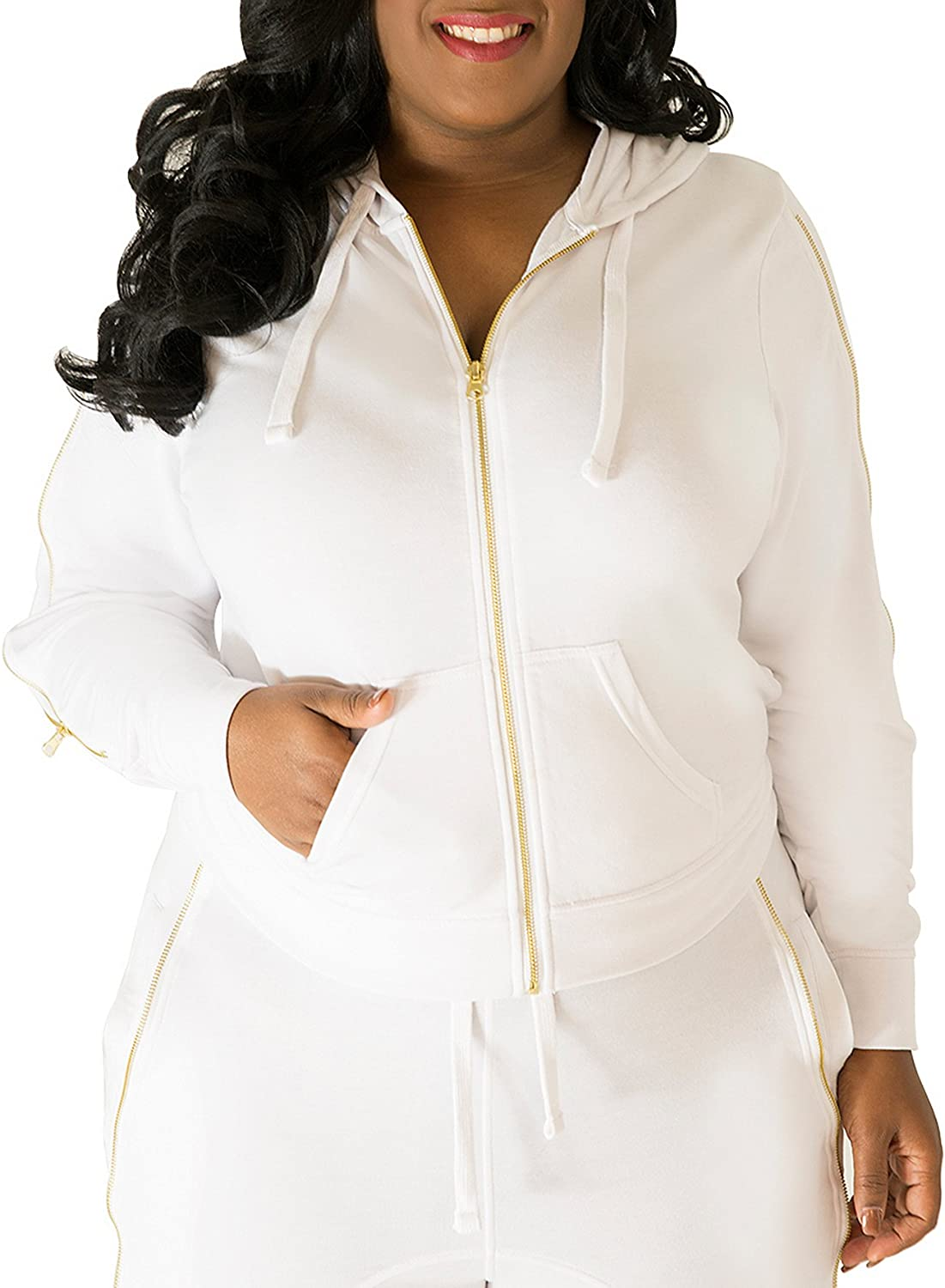 Poetic Justice Plus Size Women's White French Terry Gold Zip Wrap Tie Hoodie
