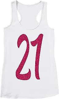 New Item Handmade Girl 21st Birthday Tank Top Shirts - Pink 21 Birthday Tank Tops