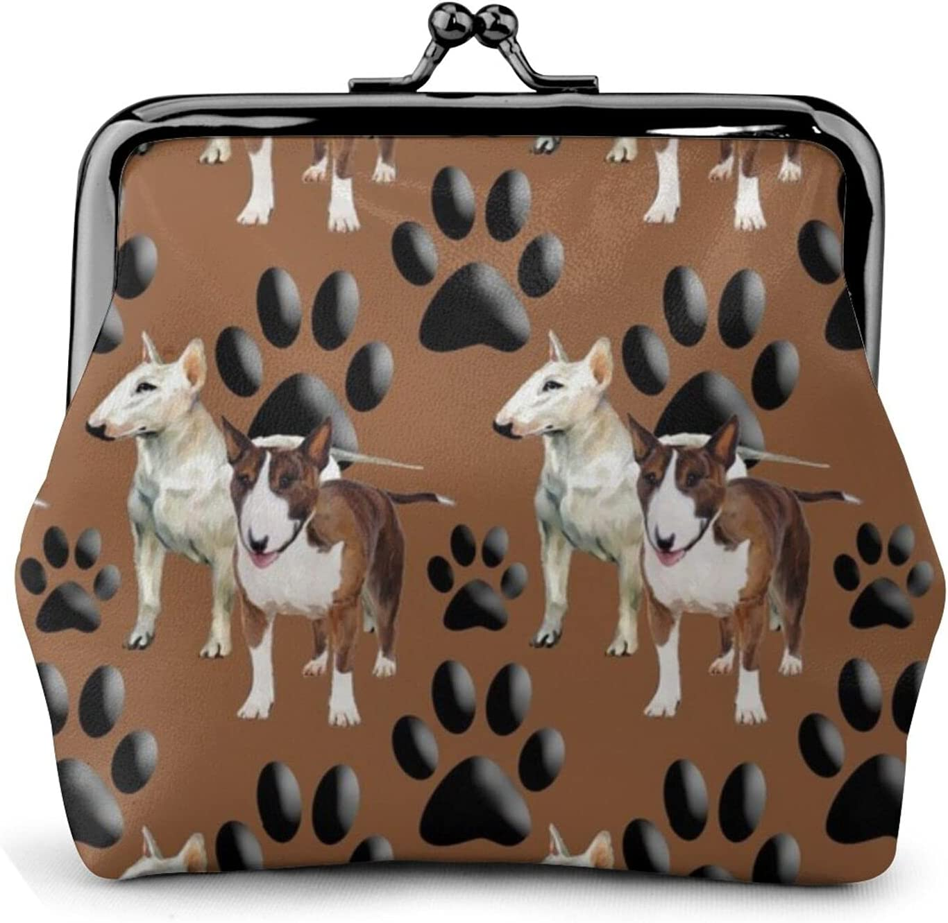 Bull Terriers And 1331 Coin Purse Retro Money Pouch with Kiss-lock Buckle Small Wallet for Women and Girls