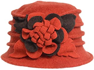 Lady 100% Wool Floral Bucket Cloche Bowler Hat Felt Dress Hat XC020 2763badc4de5