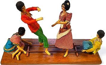 Independent Artist Filipino Tinikling Dance Folk Art Figures Tabletop Display