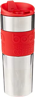 Bodum Insulated Stainless-Steel Travel French Press Coffee and Tea Mug, 0.45-Liter, 15-Ounce, Red