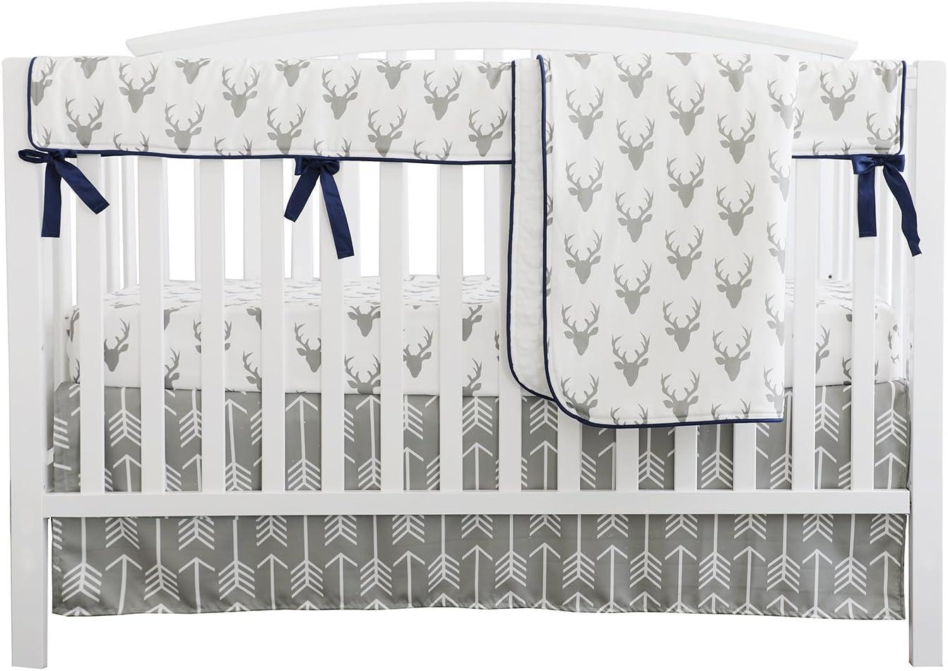 Deer Sheets - Woodland  Linen Buck Cotton Sateen Sheet Set Bedding by Spoonflower Antlers On Navy Linen by littlearrowdesign jumbo Scale