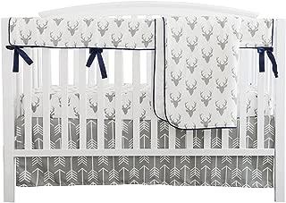 Baby Boy Crib Bedding White Grey Woodland Arrow Antlers Deer Head Minky Blanket Navy Crib Sheet Deer Buck Crib Rail Bedding Set (Grey Arrow Deer Head, 4 Pieces Set)