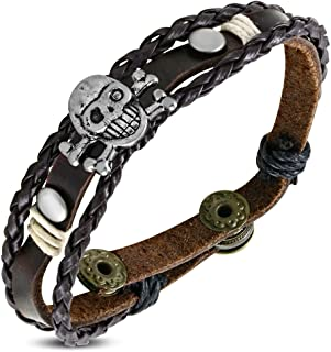 Fashion Triple Wrap Braided Rope Pirate Skull Crossbones Stud Snap Brown Leather Biker Bracelet Length: 8