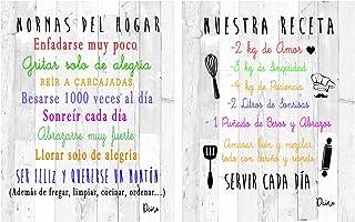 Dcine Set 2 Cuadros Frases Decorativos/Madera/Normas del hogar/Nuestra Receta/Regalo 19 cm x 25 cm x 4 mm Cada Cuadro