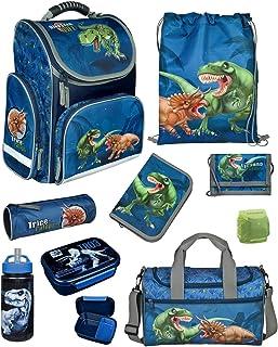 Familando Dinosaurier Schulranzen-Set 9 TLG. Modell CLOU Ranzen 1. Klasse mit Federmappe, Sporttasche und Regenschutz