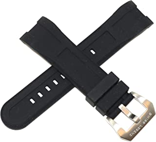 24MM Black Silicone Rubber Watch Band w/Silver Stainless Buckle fits 46mm Everest Watch