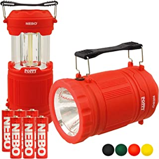 NEBO Poppy Lantern 300 Lumen LED Spot Light Flashlight Pop-Up Bundle with 3x Extra Nebo AA Batteries (Red)