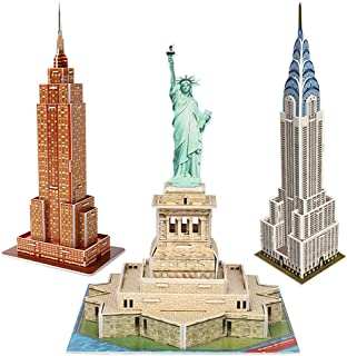 CubicFun 3D New York Puzzles Small Cityline Building Paper Craft Model Kits Collection Toys for Adults and Teens, Statue of Liberty, Empire State Building, and Chrysler Building