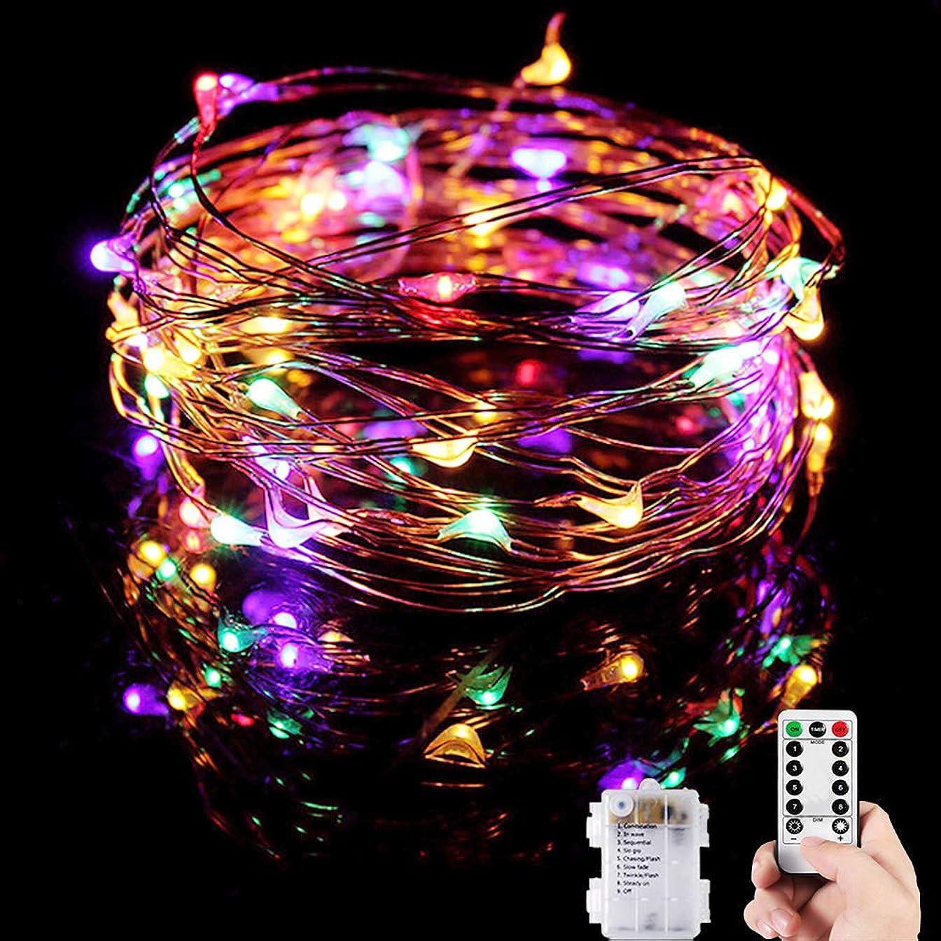 チューリップライター透けるイルミネーションライト 電池式 神戸ルミナリエ 飾り ジュエリーライト 8パターン 点滅 点灯 タイマー機能 防水 防塵仕様 ストリングライト 10メートル 100 LED電球 電池式 LED ライト リモコン付き 屋外 室内 ガーデンライト 正月 クリスマス 飾り 誕生日 電飾 (レインボー)