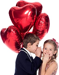 Treasures Gifted Valentines Day Red Heart Love Party Decorations in Foil Mylar Balloons for Bridal Shower Anniversary Wedding and Engagement Birthday (12 Pack)