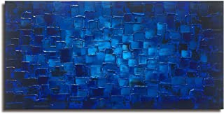 MyArton Large Abstract Dark Blue Square Wall Art Hand Painted Textured Oil Painting on Canvas Ready to Hang 60x30inch