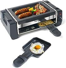 Appareil Raclette Mini Grill Raclette avec 2 Poêlons à Raclette et 4 Grattoirs en Bois, Thermostat réglable, Revêtement An...