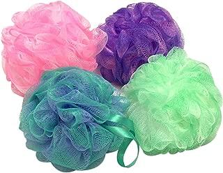Bath Sponge, Large Exfoliating Shower Sponge Color Swirls Mesh Pouf Lather Cleanse Shower Ball Body Loofah Sponges Pack of 4