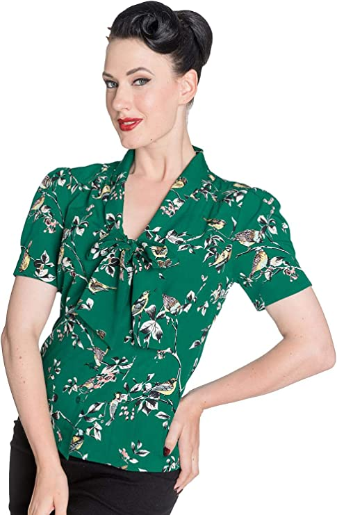 1940s Blouses, Tops, Shirts, Knitwear Hell Bunny Birdy 40s 50s Pin Up Landgirl WW2 Retro Vintage Style Blouse £27.50 AT vintagedancer.com