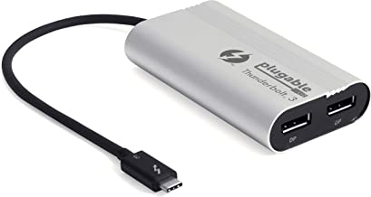 Plugable Thunderbolt 3 to Dual DisplayPort Display Adapter Compatible with MacBook Pro Systems (2019 8 7), Project or Stream to up to 2X 4K 60Hz Monitors Or 1x 5K (Thunderbolt 3 Certified)
