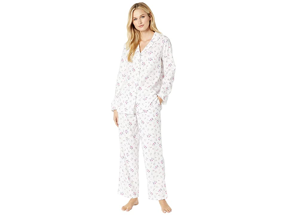 Eileen West Flannel Notch Collar Pajama Set (White Rose Multi) Women