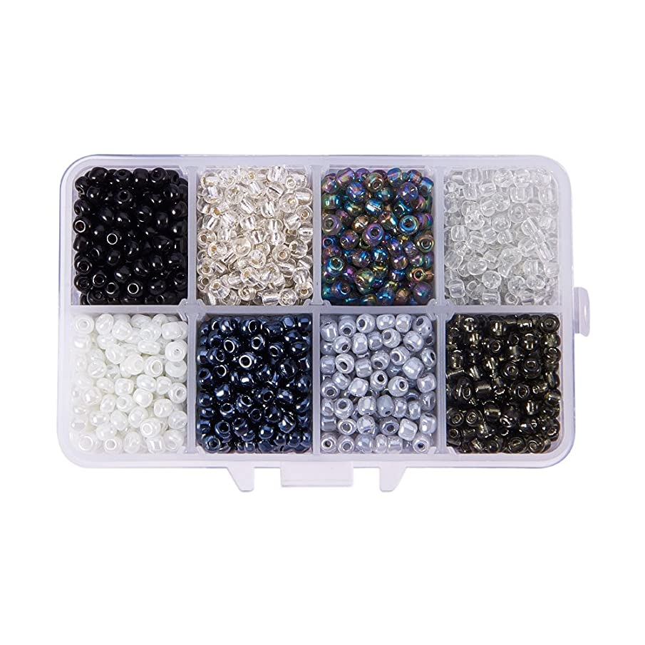 PandaHall Elite About 1440 Pcs 6/0 Glass Seed Beads Lined Pony Bead Tiny Spacer Czech Beads Diameter 4mm for Jewelry Making 8 Colors
