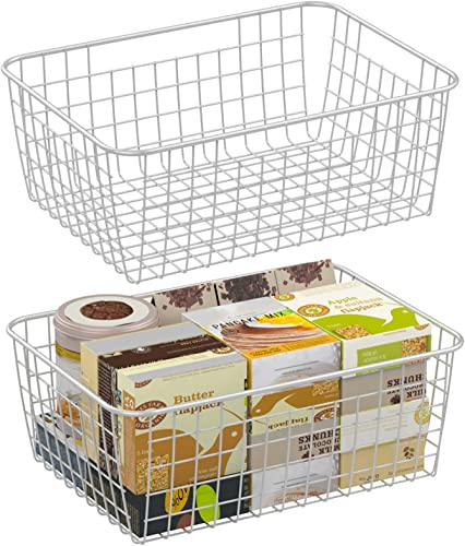Wire Storage Basket F-color 2 Pack Large Metal Household Storage Organizer Bin with 4 Built-in Handles for Pantry Shelf Freezer Kitchen Cabinet Bathroom White