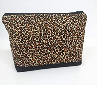 Cheetah print Cosmetic Make up bag or travel pouch with zippered top