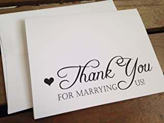 Thank You for MARRYING US - To Officiant - Wedding Day - Note Card - Eco White - RUSTIC - Recycled - Eco Friendly