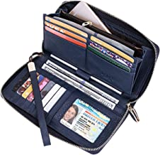 Itslife Women RFID Leather Wristlet Wallets Zip Around Phone Checkbook Card Big Clutch Large Ladies Travel Purse