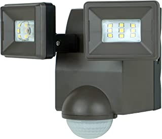 LB1870QBZ 700 Lumen Battery Operated LED Motion Security Light, Twin Head (Includes L-Bracket for Easy Mount) (Bronze)