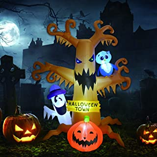 8 Foot High Halloween Blow Up Inflatables Dead Tree with White Ghost,Pumpkin and Owl for Halloween Yard Outdoor Decoration...