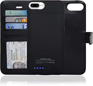 navor RFID Folio Wallet Magnetic Detachable Power Battery Case 4200mAh Compatible for iPhone 7 Plus / 6 Plus / 8 Plus [5.5 Inch] - Black