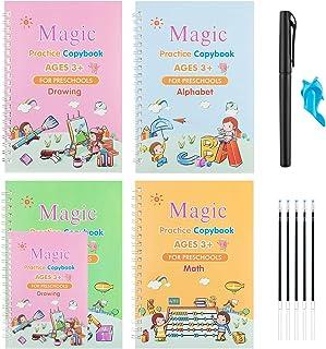 Big Version Magic Practice Copybook for Kids, YOOVEE 10.5''×7.3'' Reusable Magic Practice Copy Book for Kids with Pens, Nu...