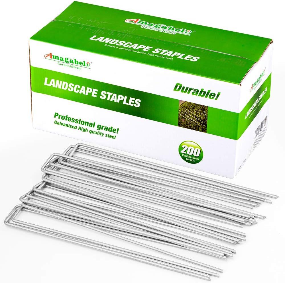 Amagabeli 12 Inch 8 5 ☆ very popular Gauge Staples Pack Galvanized 200 Ranking TOP6 Landscape