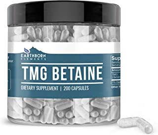 Earthborn Elements TMG Betaine Anhydrous Trimethylglycine (200 Capsules) Non-GMO, Made in The USA (960 mg Serving)