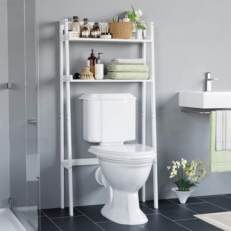 Homecho HMC-MD-002 Badezimmer-Regal über der Toilette mit 2 Ablagefchern, offen, Ablagefach für Badezimmer, platzsparend, Wei