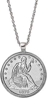 Silver Seated Liberty Half Dollar Coin Silvertone Pendant Neckace