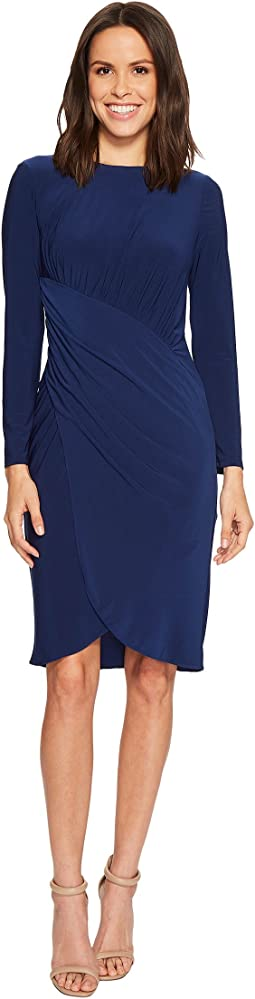 Adrianna Papell - Matte Jersey Dress with Long Sleeve and Draped Wrap Skirt