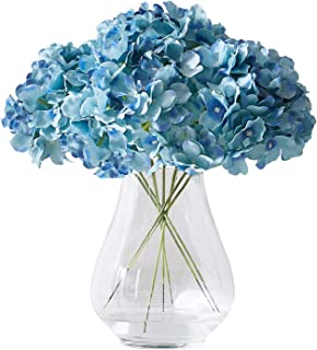 Kislohum Artificial Hydrangea Flowers Heads 10 Teal Hydrangea Silk Flowers Head for Wedding Centerpieces Bouquets DIY Flor...