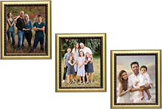 KDM Home Decor set of 3 Dark Golden Color flexible Glass & Synthetic Wood Modern Collage Photo Frames for Wall Hanging 8x1...