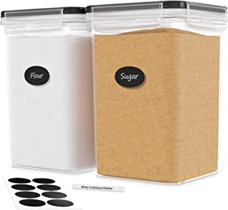 DWËLLZA KITCHEN Extra Large Airtight Food Storage Containers - 2 PC 175 oz Each - For Flour & Sugar - Air Tight Pantry & K...