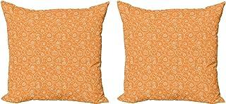 ABAKUHAUS Cosecha Set de 2 Fundas para Cojín, Hojas de Calabaza remolinos, con Estampado en Ambos Lados con Cremallera, 60 cm x 60 cm, Naranja Blanco