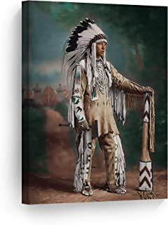 SmileArtDesign Indian Wall Art Portrait of a Native American Canvas Print Home Decor Decorative Artwork Gallery Wrapped Wood Stretched and Ready to Hang -%100 Handmade in The USA - 12x8