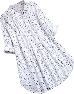 iNoDoZ Women's V-Neck Pleated Floral Print Long 3/4 Sleeve Casual Tunic Tops Loose T-Shirt Blouse