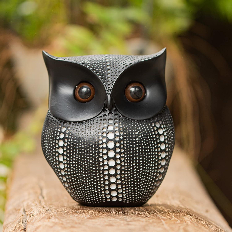 5.5 inch Owl Figurine,with Unique Dark Brown Eyes,Modern Boho Home Decor Knick Knacks for Bookshelf Living Room,Small Crafted Shelf Decor(Black)