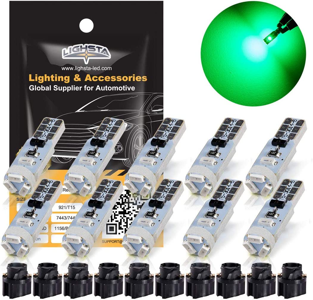 LIGHSTA Green T5 37 74 2721 LED Bulbs with Twist Lock Socket PC74 PC37 882 Dashboard Instrument Panel Lights Gauge Cluster Dash Indicator LED Light Bulbs Pack of 10