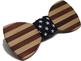 Solid Multi Exotic Wood Patriotic Bow Tie with Blue and Star Fabric Center