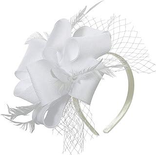 Myjoyday Fascinator Hats for Women Tea Party Wedding Headband Feather Cocktail Headwear Hair Clip for Girls