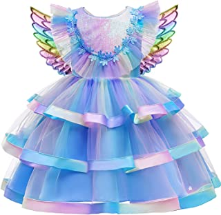 VanStar Unicorn Princess Girls Party Cosplay Girl Clothing Birthday Dress Kids Costume With Headband and Wing Outfit