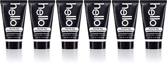 Hello Oral Care Activated Charcoal Epic Whitening SLS Free & fluoride Free Trial & travel toothpaste, 6Count
